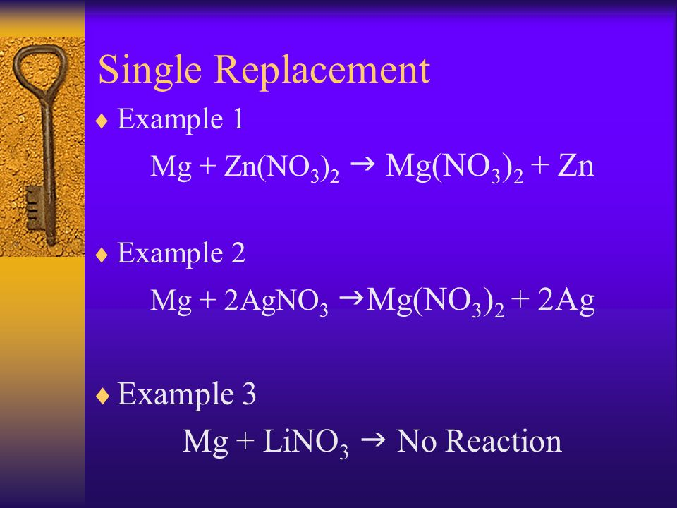 Single Replacement Example 3 Mg + LiNO3  No Reaction Example 1