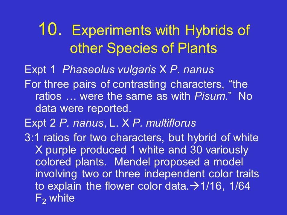 10. Experiments with Hybrids of other Species of Plants