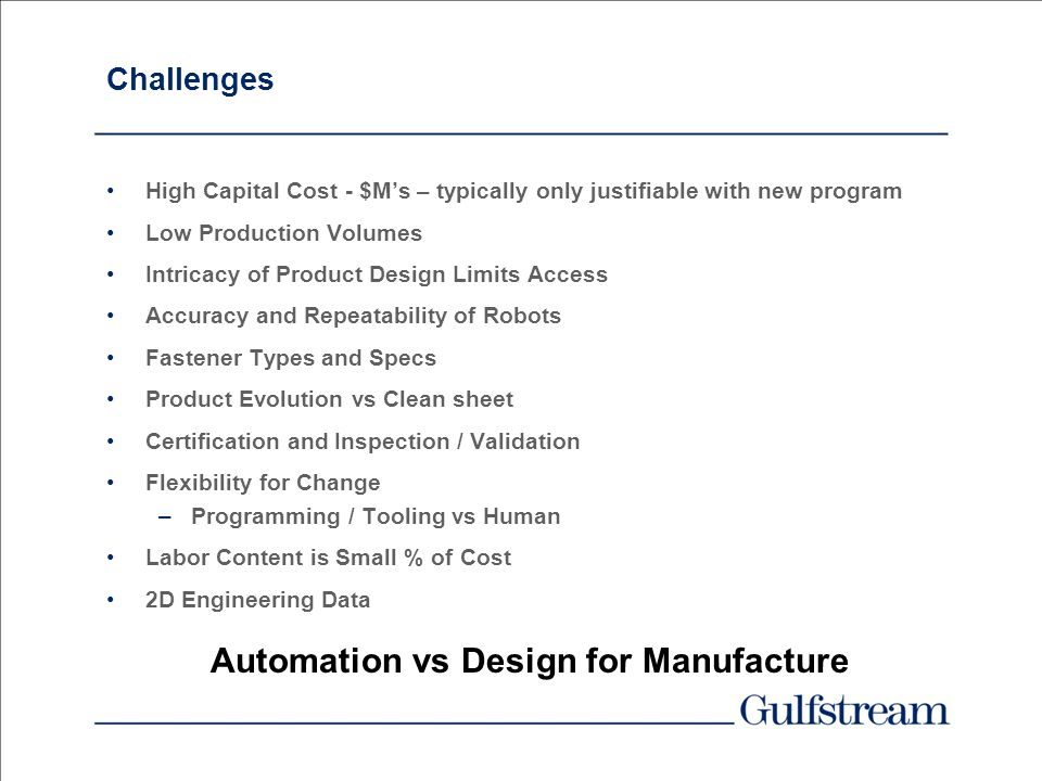 Automation vs Design for Manufacture