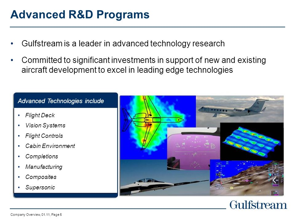 Advanced R&D Programs Gulfstream is a leader in advanced technology research.