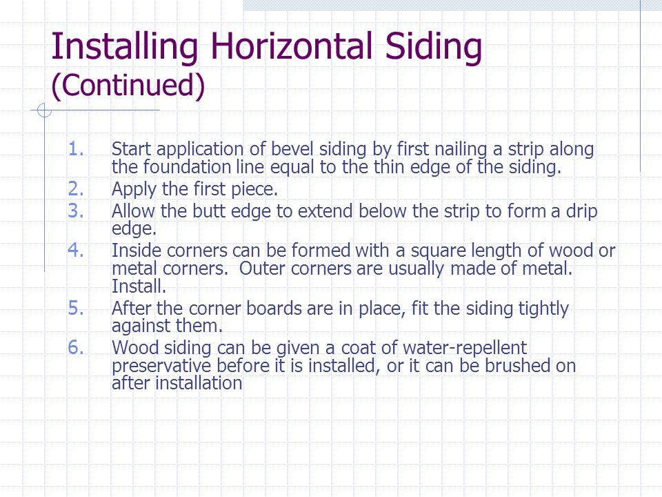 Installing Horizontal Siding (Continued)