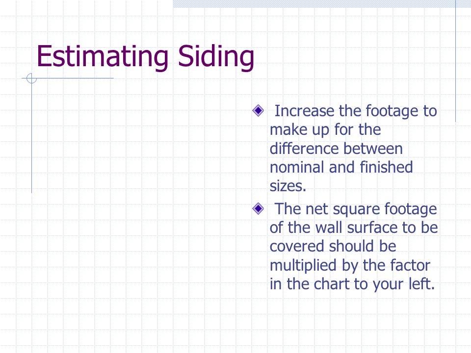 Estimating Siding Increase the footage to make up for the difference between nominal and finished sizes.