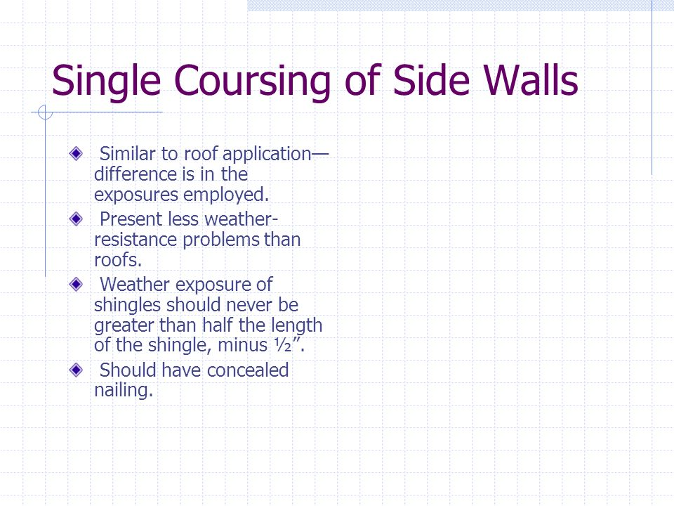 Single Coursing of Side Walls
