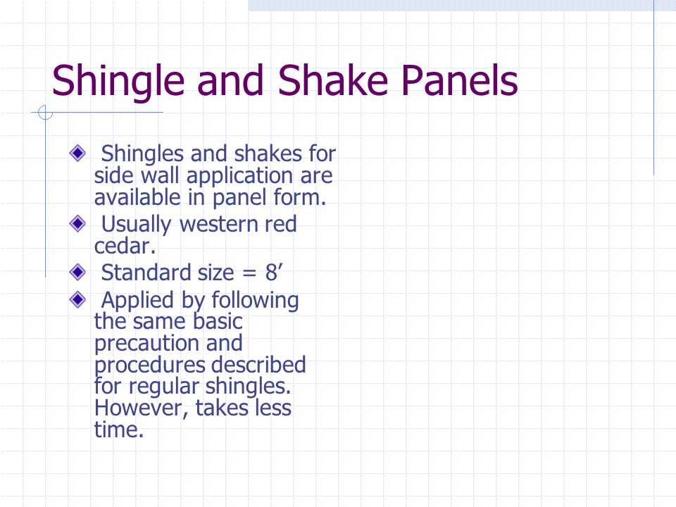 Shingle and Shake Panels