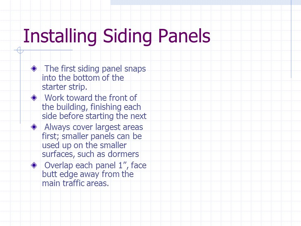 Installing Siding Panels