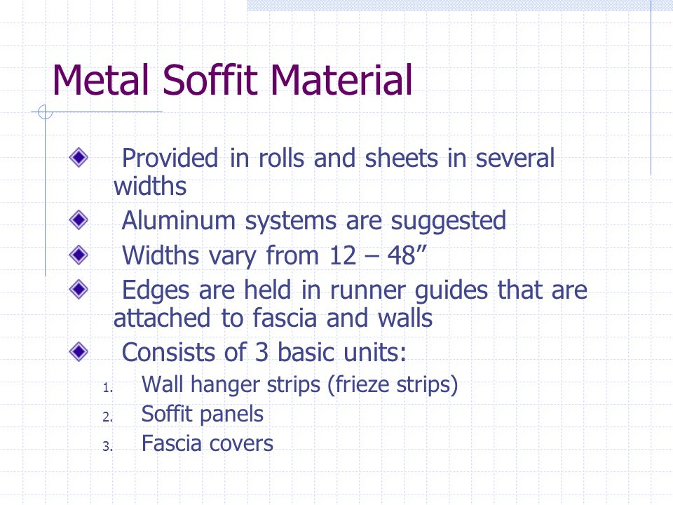 Metal Soffit Material Provided in rolls and sheets in several widths