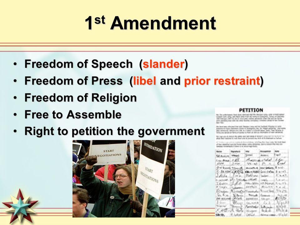 1st Amendment Freedom of Speech (slander)