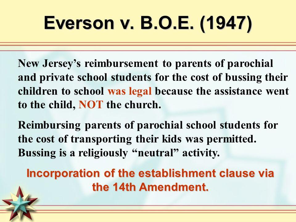 Incorporation of the establishment clause via the 14th Amendment.