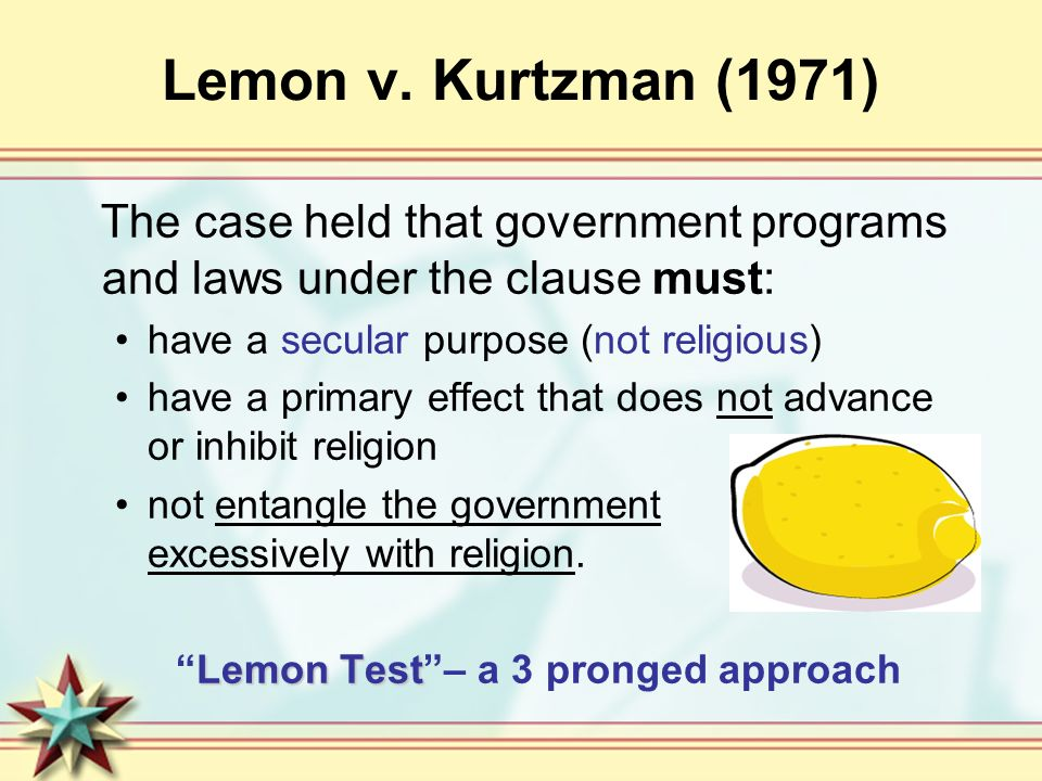 lemon vs kurtzman digest Lemon v kurtzman (no 89) appellant, v alton j lemon et al arthur levitt, as comptroller of the state of new york, and ewald b nyquist.