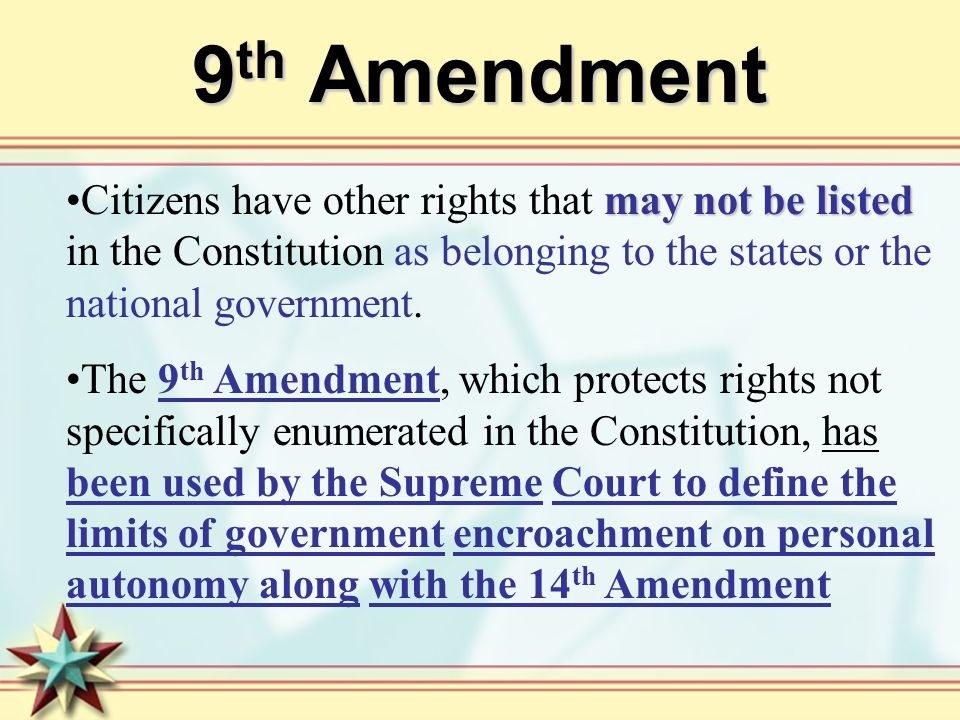 9th Amendment Citizens have other rights that may not be listed in the Constitution as belonging to the states or the national government.