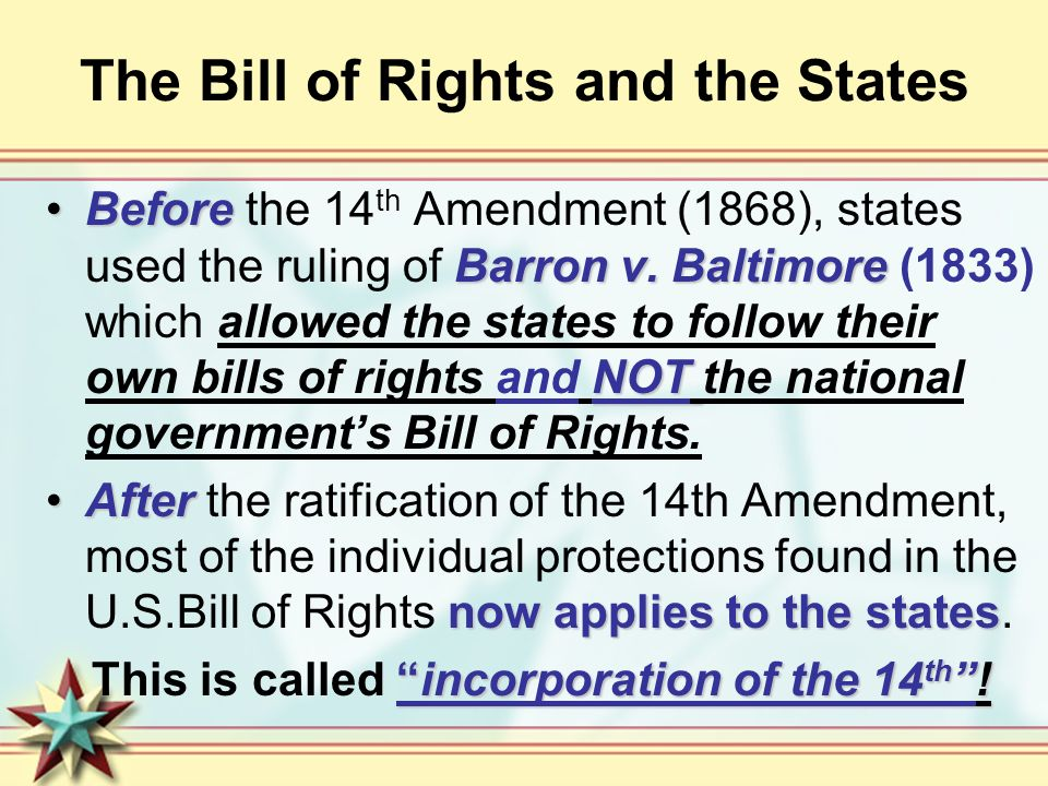 bill of rights incorporation Definition of incorporation (bill of rights) in the legal dictionary - by free online english dictionary and encyclopedia what is incorporation (bill of rights.