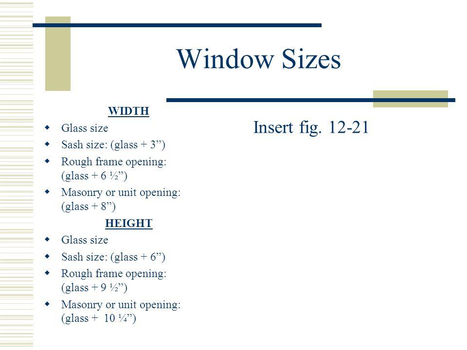 Window Sizes Insert fig. 12-21 WIDTH Glass size
