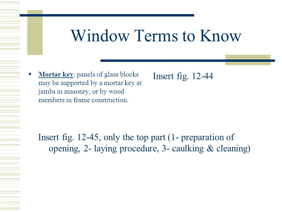 Window Terms to Know Insert fig. 12-44