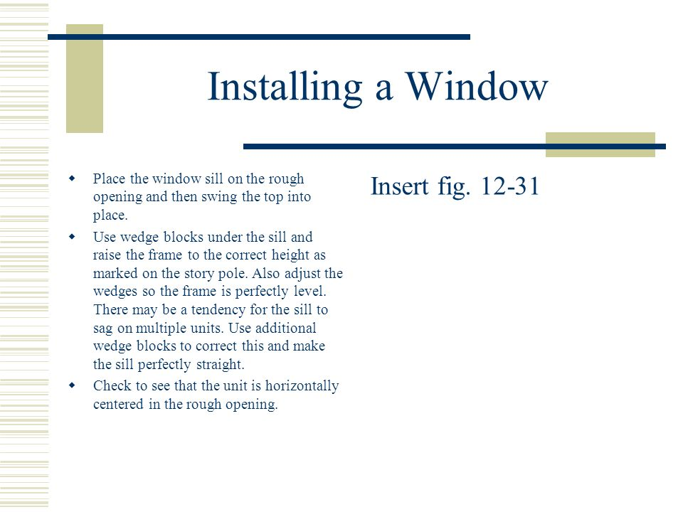 Installing a Window Insert fig. 12-31