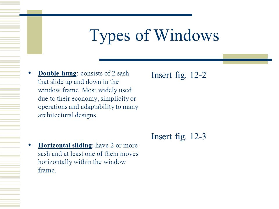 Types of Windows Insert fig. 12-2 Insert fig. 12-3
