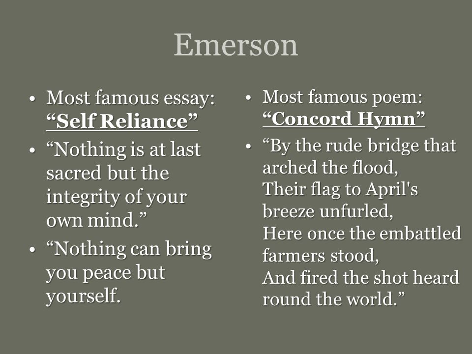 emerson personal reliability essay