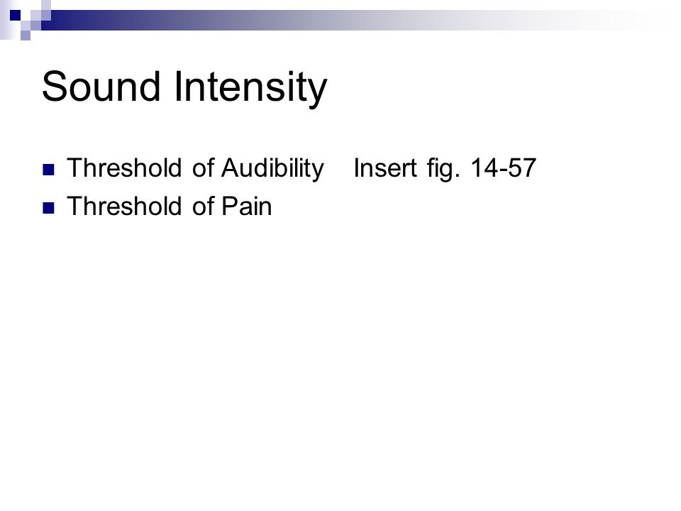 Sound Intensity Threshold of Audibility Threshold of Pain
