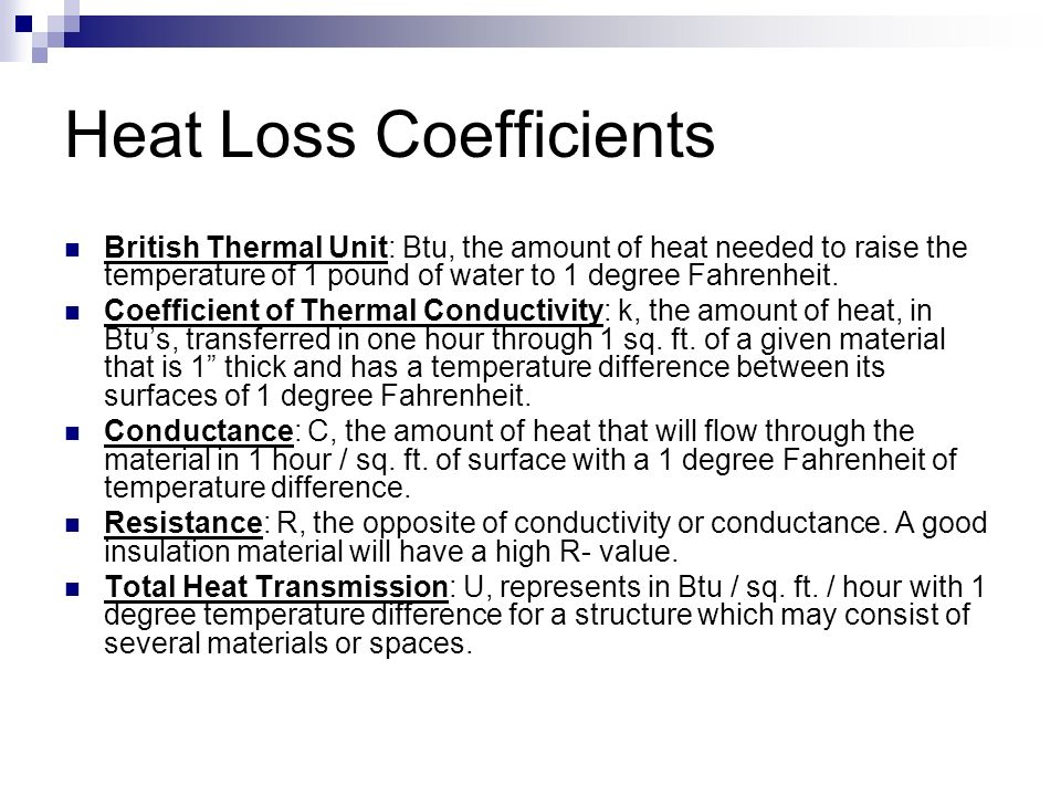 Heat Loss Coefficients