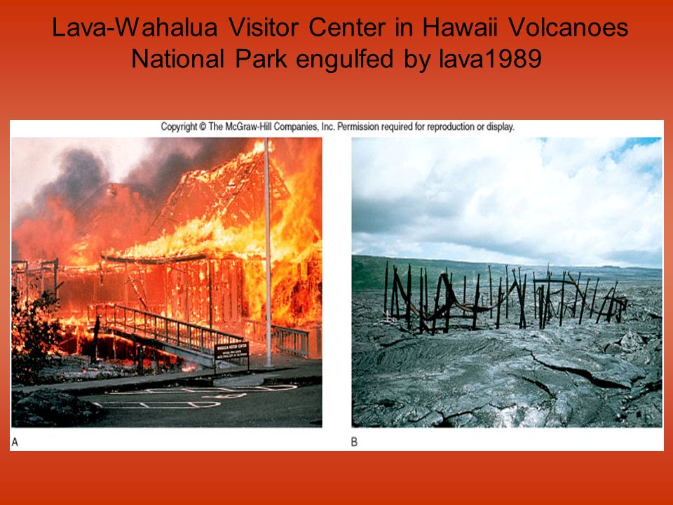 Lava-Wahalua Visitor Center in Hawaii Volcanoes National Park engulfed by lava1989