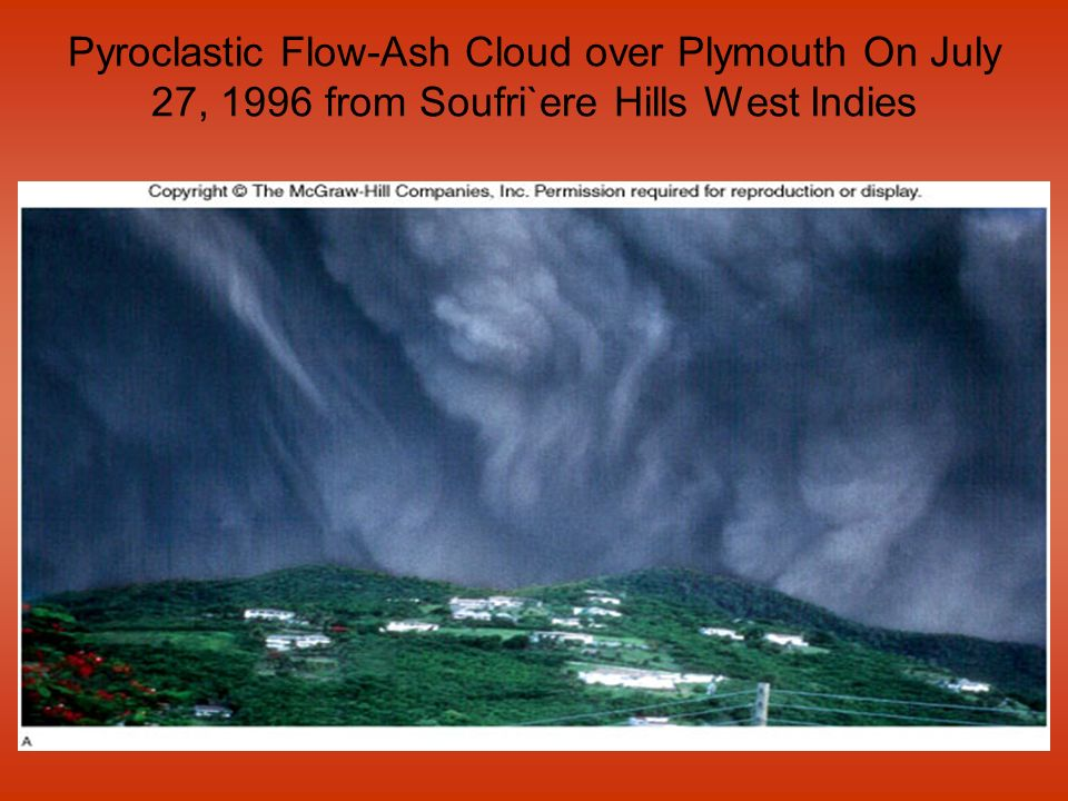 Pyroclastic Flow-Ash Cloud over Plymouth On July 27, 1996 from Soufri`ere Hills West Indies