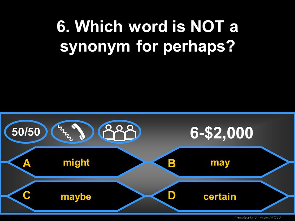 6. Which word is NOT a synonym for perhaps