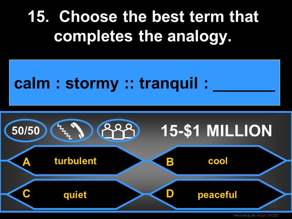 15. Choose the best term that completes the analogy.