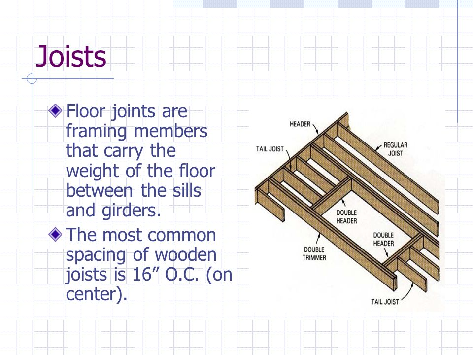 Joists Floor joints are framing members that carry the weight of the floor between the sills and girders.