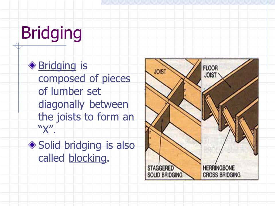 Bridging Bridging is composed of pieces of lumber set diagonally between the joists to form an X .