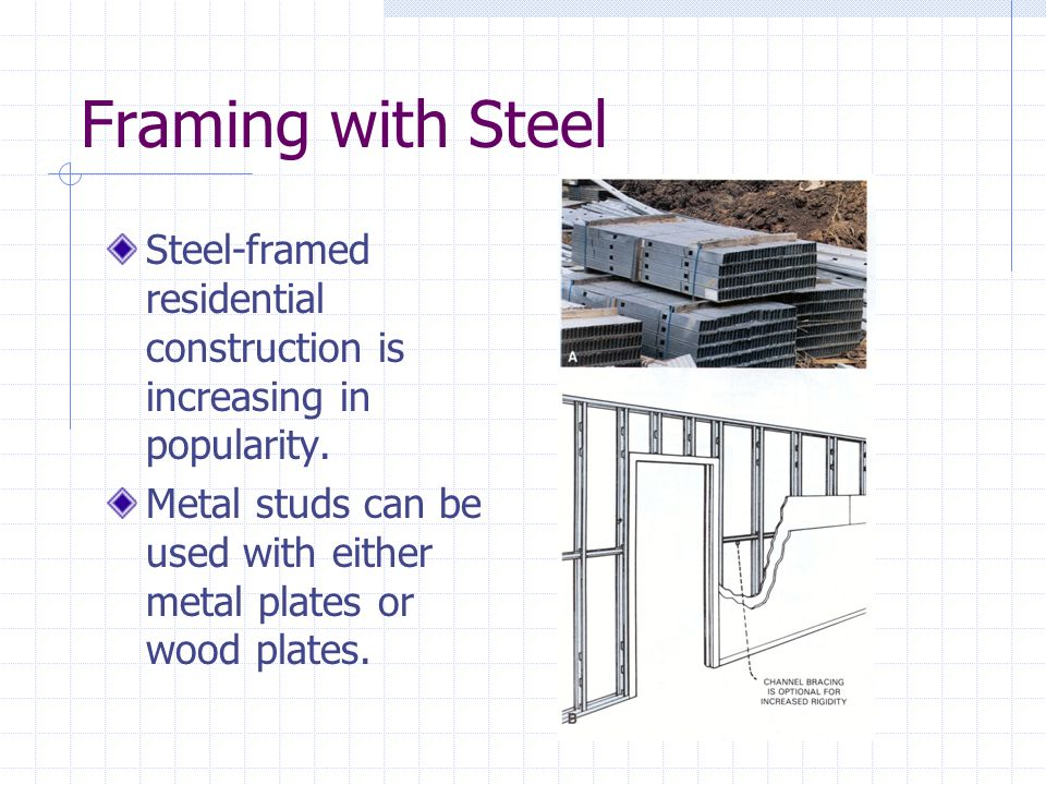 Framing with Steel Steel-framed residential construction is increasing in popularity.