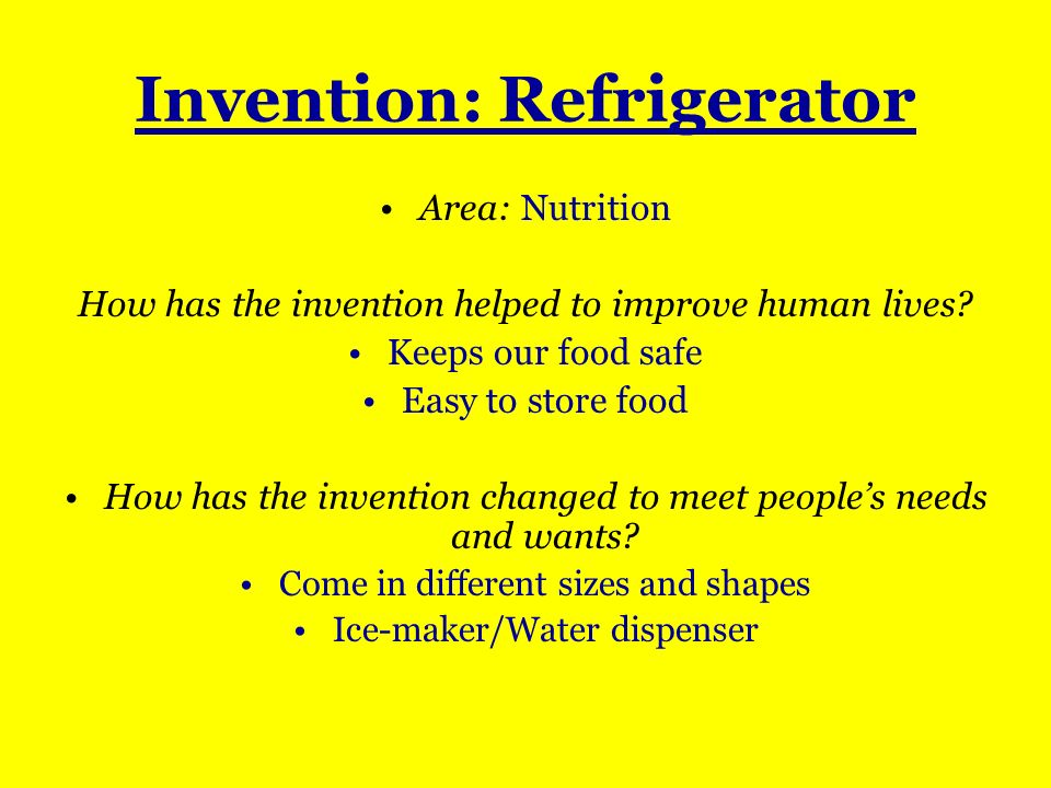 Invention: Refrigerator