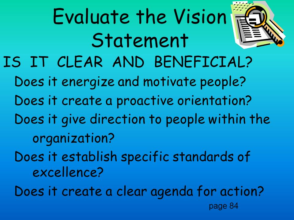 Evaluate the Vision Statement