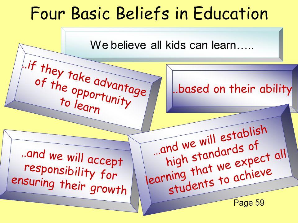 Four Basic Beliefs in Education