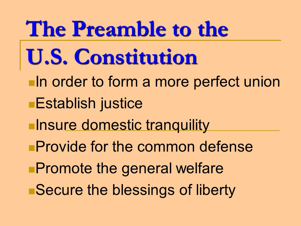 The Preamble to the U.S. Constitution