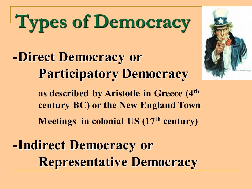 Types of Democracy -Direct Democracy or Participatory Democracy