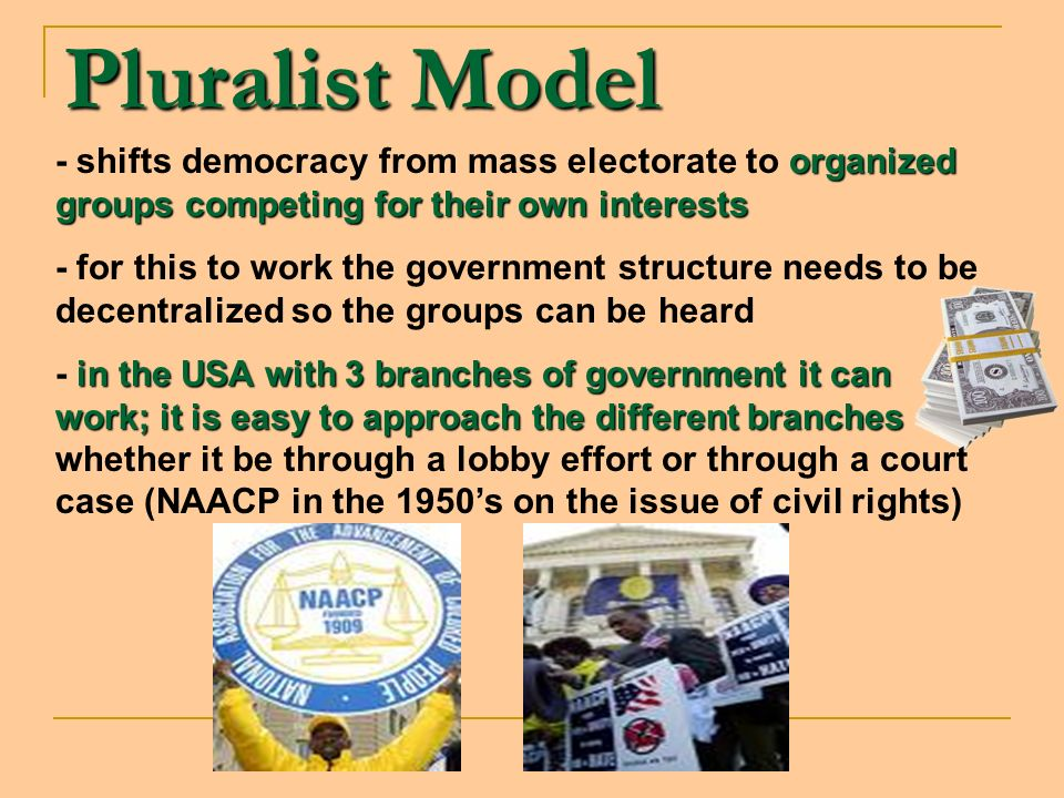 Pluralist Model - shifts democracy from mass electorate to organized groups competing for their own interests.
