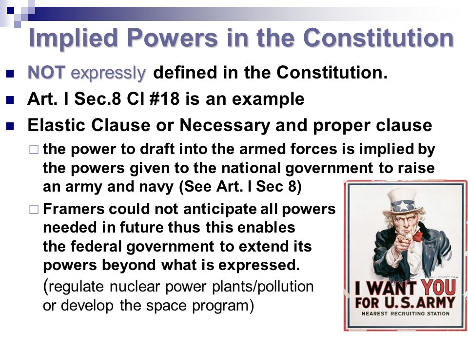 Implied Powers in the Constitution