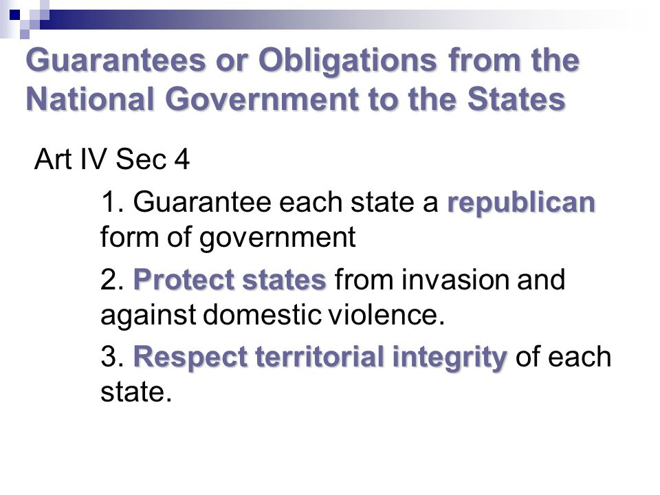 Guarantees or Obligations from the National Government to the States