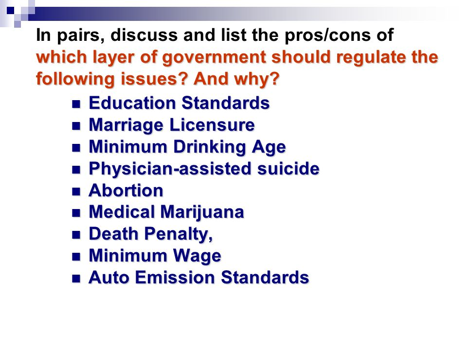 In pairs, discuss and list the pros/cons of which layer of government should regulate the following issues And why