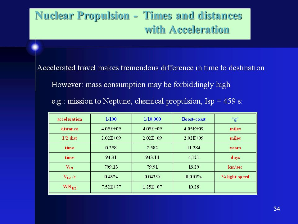 Nuclear Propulsion - Times and distances with Acceleration
