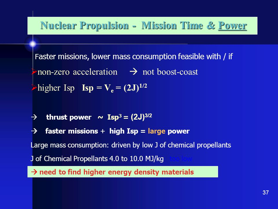 Nuclear Propulsion - Mission Time & Power