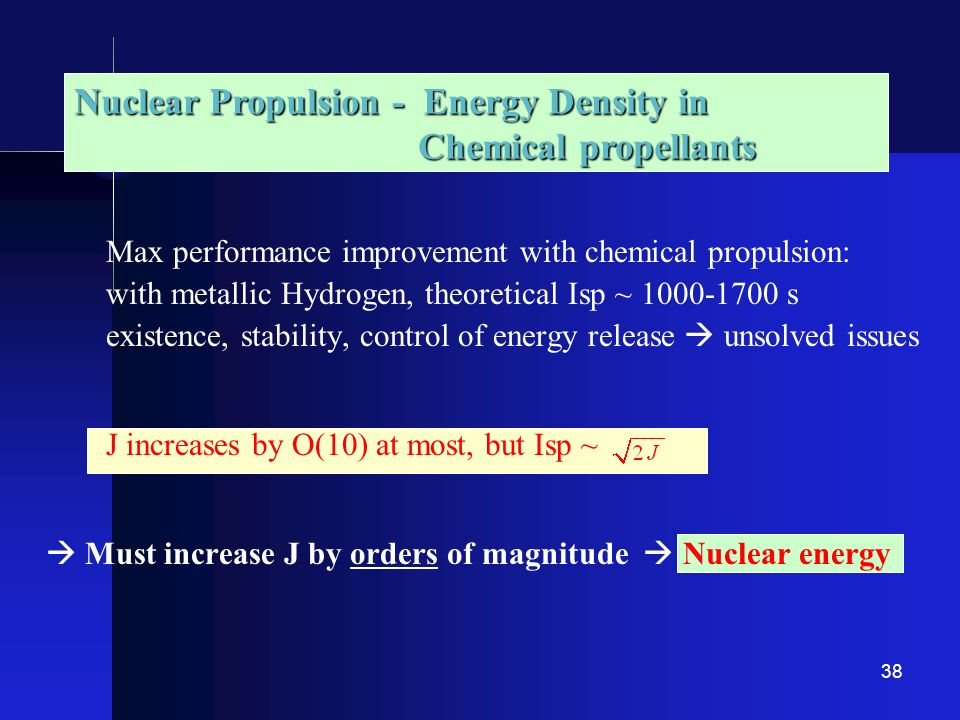 Nuclear Propulsion - Energy Density in Chemical propellants