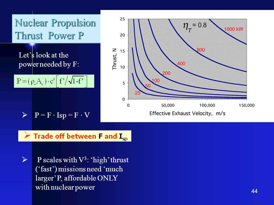 Nuclear Propulsion Thrust Power P Let's look at the power needed by F: