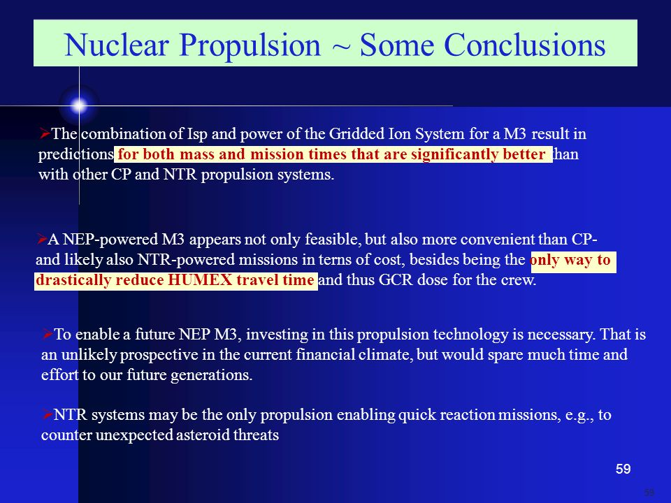 Nuclear Propulsion ~ Some Conclusions
