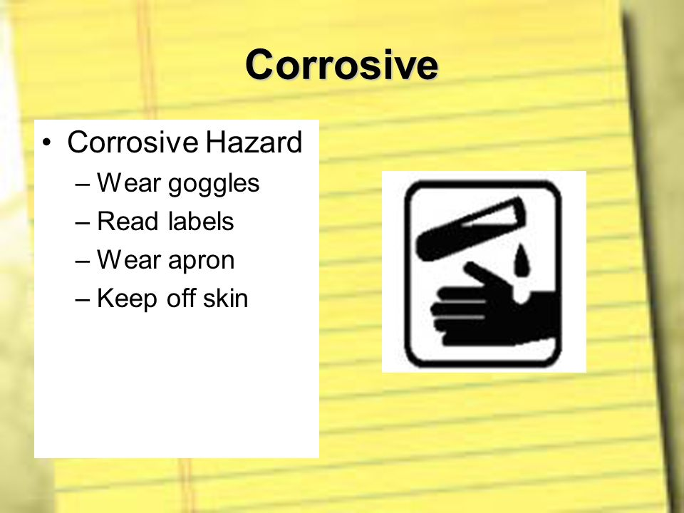 Corrosive Corrosive Hazard Wear goggles Read labels Wear apron