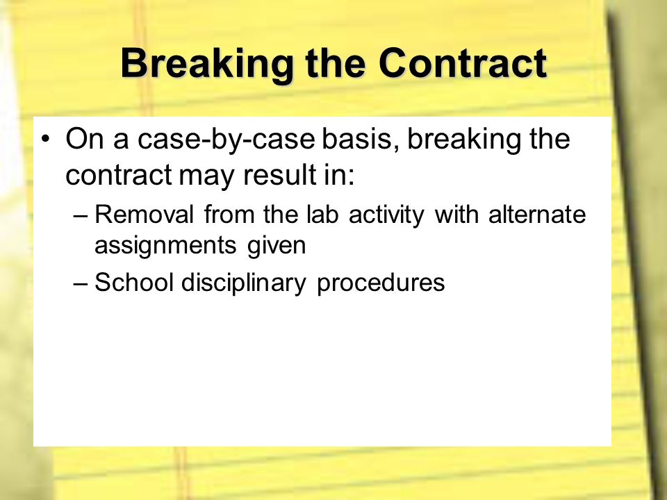 Breaking the Contract On a case-by-case basis, breaking the contract may result in: Removal from the lab activity with alternate assignments given.