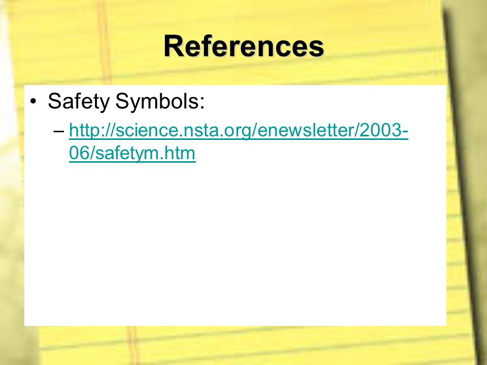 References Safety Symbols: