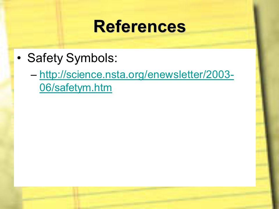 References Safety Symbols: