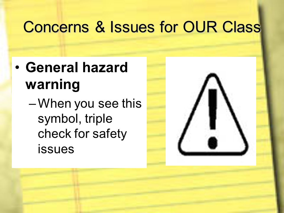 Concerns & Issues for OUR Class