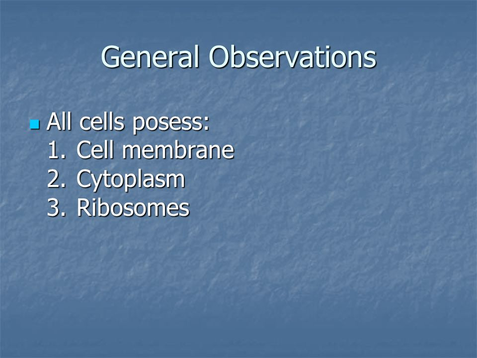 General Observations All cells posess: 1. Cell membrane 2. Cytoplasm 3. Ribosomes