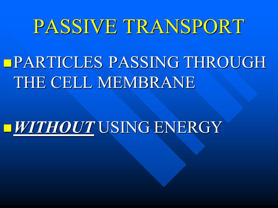 PASSIVE TRANSPORT PARTICLES PASSING THROUGH THE CELL MEMBRANE